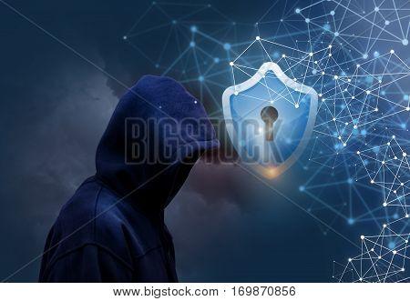 Secure connecting users concept design illustration banner background.