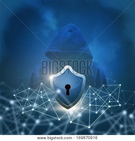 Secure networks concept design illustration banner background.