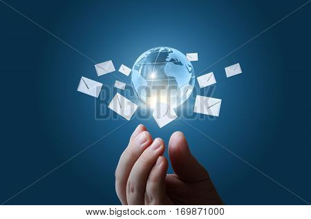Sending letters on the Internet concept design.