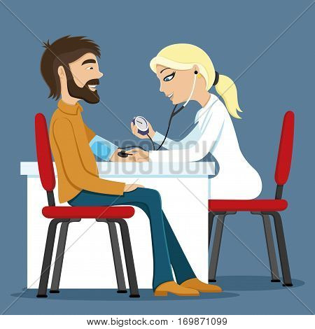 Doctor measures the pressure of the patient.
