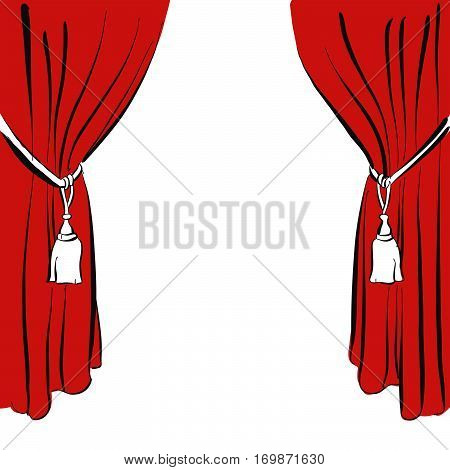 Classic Red Curtain With Drawstring Curtain