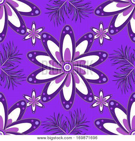 Vintage pattern on mandala background with petal flower. Violet lilac mandalas background.