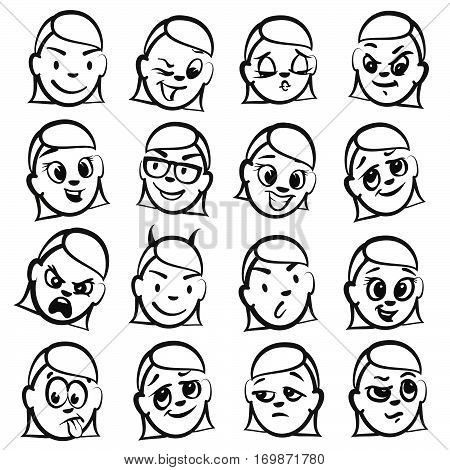 Stick Figure Series Emotions - Women Heads