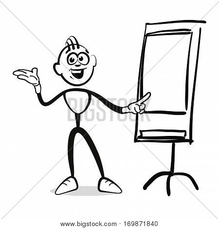 Stick Figure Series Emotions - Man At Flipchart