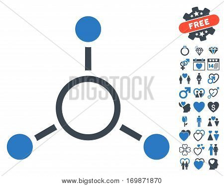 Radial Structure pictograph with bonus amour design elements. Vector illustration style is flat rounded iconic smooth blue symbols on white background.