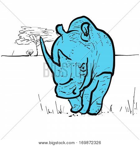 Endangered rhino in savannah hand-drawn vector clipart