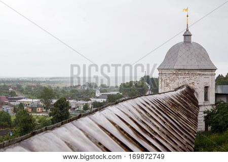 Roof of Goritsky monastery wall with turret - in Pereslavl-Zalessky, Russia