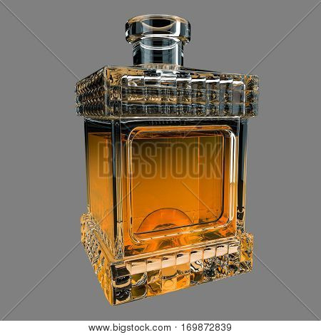 Decanter with whiskey on gray background. 3D render