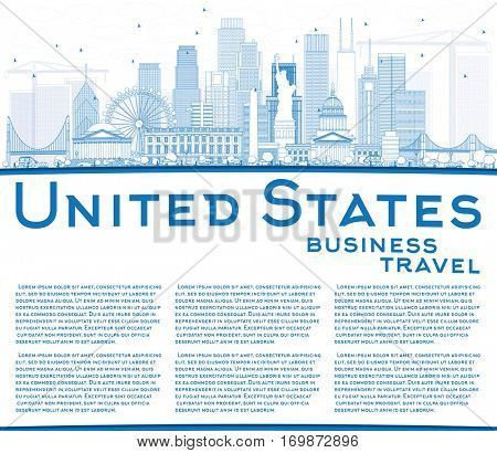 Outline USA Skyline with Blue Skyscrapers, Landmarks and Copy Space. Vector Illustration. Business Travel and Tourism Concept with Modern Architecture. Image for Presentation Banner Placard and Web.
