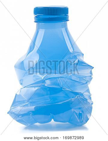 Squashed plastic bottle to be recycled isolated on white background.