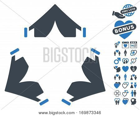 Tent Camp pictograph with bonus marriage clip art. Vector illustration style is flat rounded iconic smooth blue symbols on white background.