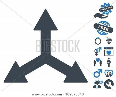 Triple Arrows icon with bonus passion clip art. Vector illustration style is flat rounded iconic smooth blue symbols on white background.