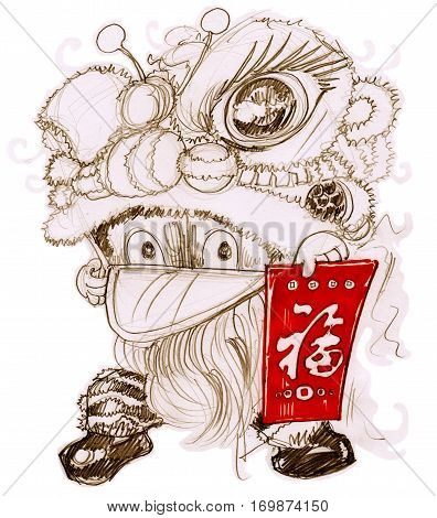 Lion mascot Chinese New year festival Cartoon cat character design pencil freehand sketch two colors brown and red isolated and clipping paths. showing red envelopes