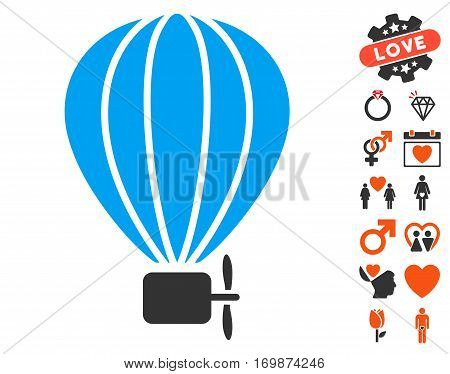 Aerostat Balloon icon with bonus decorative symbols. Vector illustration style is flat iconic elements for web design app user interfaces.
