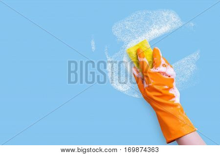 Worker removes and washes concept design banner.