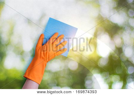 Worker wipes a window concept design banner.