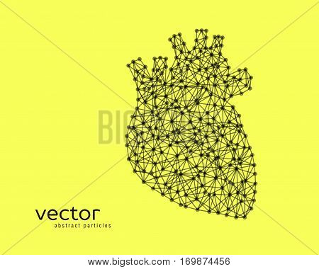 Abstract vector illustration of human heart on yellow background.