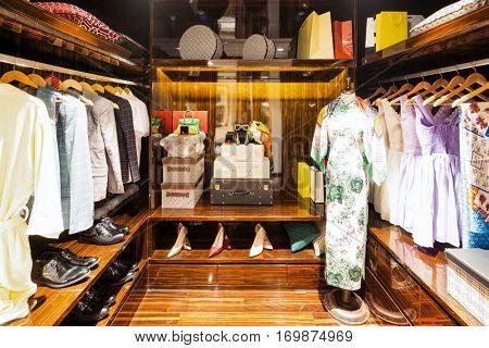 interior of modern wardrobe