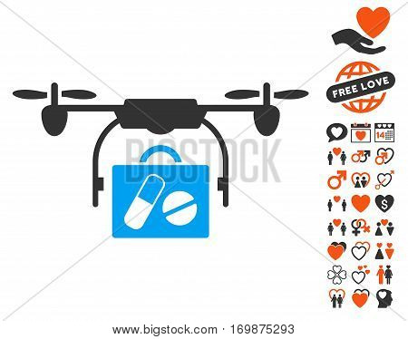 Airdrone Pharmacy Delivery icon with bonus valentine graphic icons. Vector illustration style is flat iconic symbols for web design app user interfaces. poster