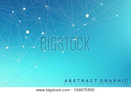 Geometric graphic background molecule and communication. Big data complex with compounds. Lines plexus, minimal array. Digital data visualization. Scientific cybernetic vector illustration