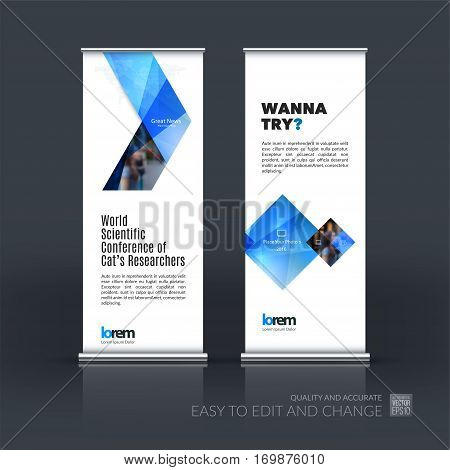 Abstract business vector set of modern roll Up Banner stand design template with blue arrows, triangles for exhibition, fair, show, exposition, expo, presentation, parade, events.