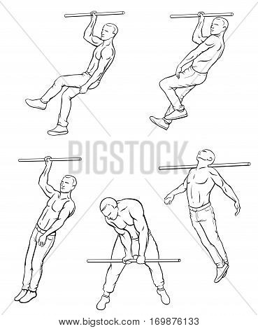 Set of street workout and calisthenic exercises on gym bar