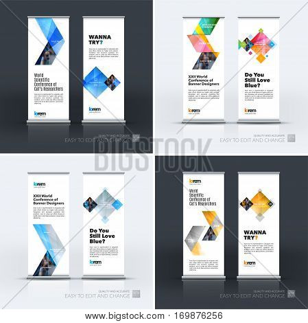 Abstract business vector set of modern roll Up Banner stand design template with colourful arrows, triangles for exhibition, fair, show, exposition, expo, presentation, parade, events.