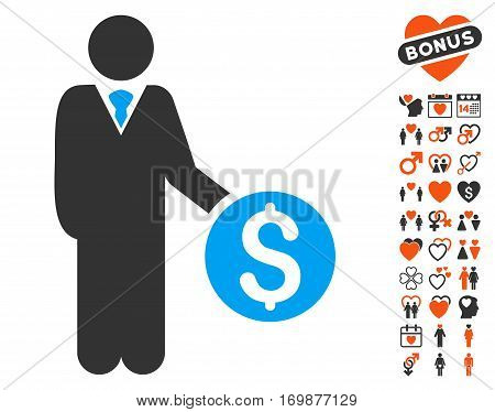 Banker pictograph with bonus decoration pictograms. Vector illustration style is flat iconic symbols for web design app user interfaces.