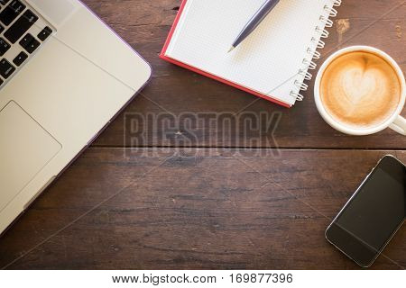 Work table of hipster freelance stock photo