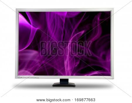 Big computer LCD monitor. With abstract magenta smoke background on screen. Isolated over white background.