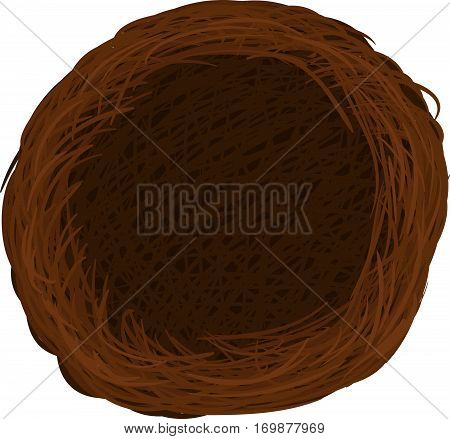 Vector bird nest isolated illustration graphic brown