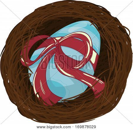 Easter blue egg with ribbon in nest vector