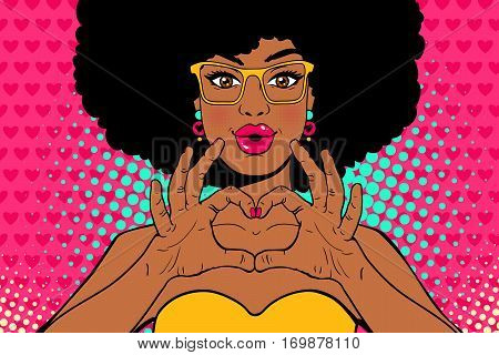 Wow pop art face. Sexy young african american woman with lips in form of kiss and afro hairstyle in glasses shows love heart sign. Vector colorful invitation poster in pop art retro comic style