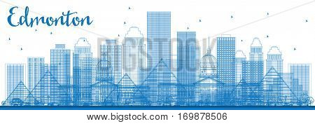 Outline Edmonton Skyline with Blue Buildings. Business Travel and Tourism Concept with Modern Architecture. Image for Presentation Banner Placard and Web Site.