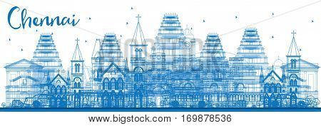 Outline Chennai Skyline with Blue Landmarks. Business Travel and Tourism Concept with Historic Architecture. Image for Presentation Banner Placard and Web Site.