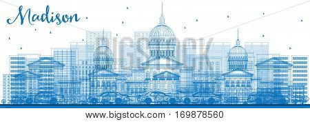 Outline Madison Skyline with Blue Buildings. Business Travel and Tourism Concept with Modern Architecture. Image for Presentation Banner Placard and Web Site.
