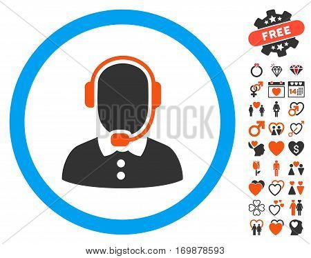 Call Center Operator pictograph with bonus romantic pictograph collection. Vector illustration style is flat iconic elements for web design app user interfaces.