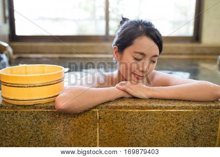 Woman having japanese onsen
