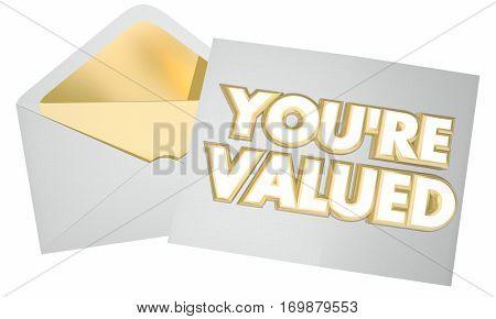 You're Valued Recognition Appreciation Message 3d Illustration