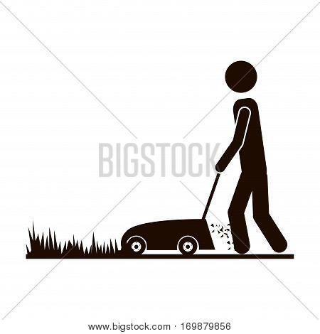 contour man mowing icon image, vector illustration