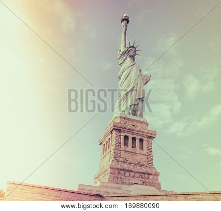 Statue of Liberty, New York City , USA  ( Filtered image processed vintage effect. )