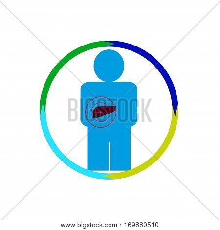 Vector illustration. The emblem logo. Stomach person at risk. Healthy lifestyle. human kontur. four section of a circle. Different colors.