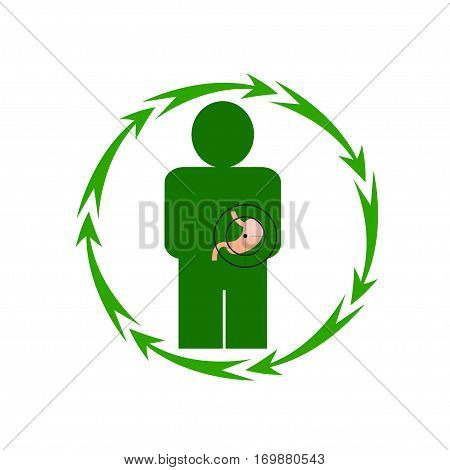 Vector illustration. The emblem logo. The human stomach is in danger. Healthy lifestyle. Human. Seven in a circle of arrows. Different colors.