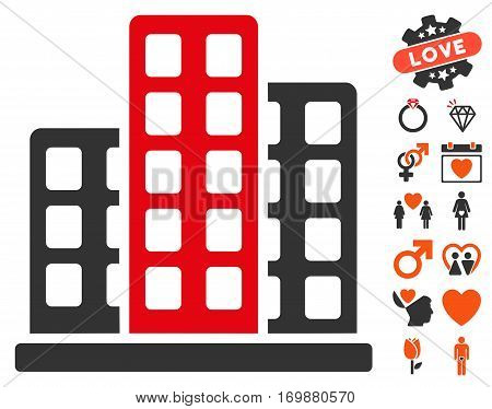 City icon with bonus amour design elements. Vector illustration style is flat iconic elements for web design app user interfaces.