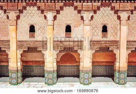 Moroccan architecture traditional design. Hassan II Mosque in Casablanca Morocco.