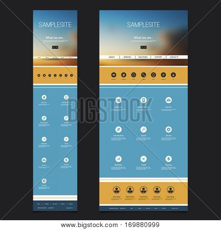 Responsive One Page Website Template with Blurred Background - Sunset Sky Header Design - Desktop and Mobile Version