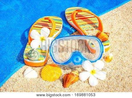 Beach sandals on the sandy coast. Vacation concept