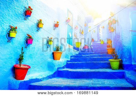 Traditional moroccan architectural details in Chefchaouen Morocco Africa