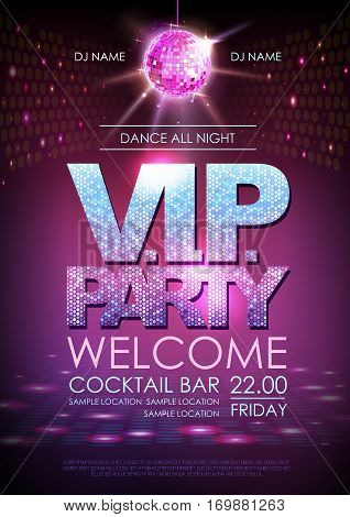 Disco ball background. Disco poster V.I.P. party. Neon