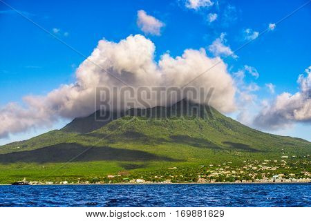 Nevis Peak, A volcano in the Caribbean.